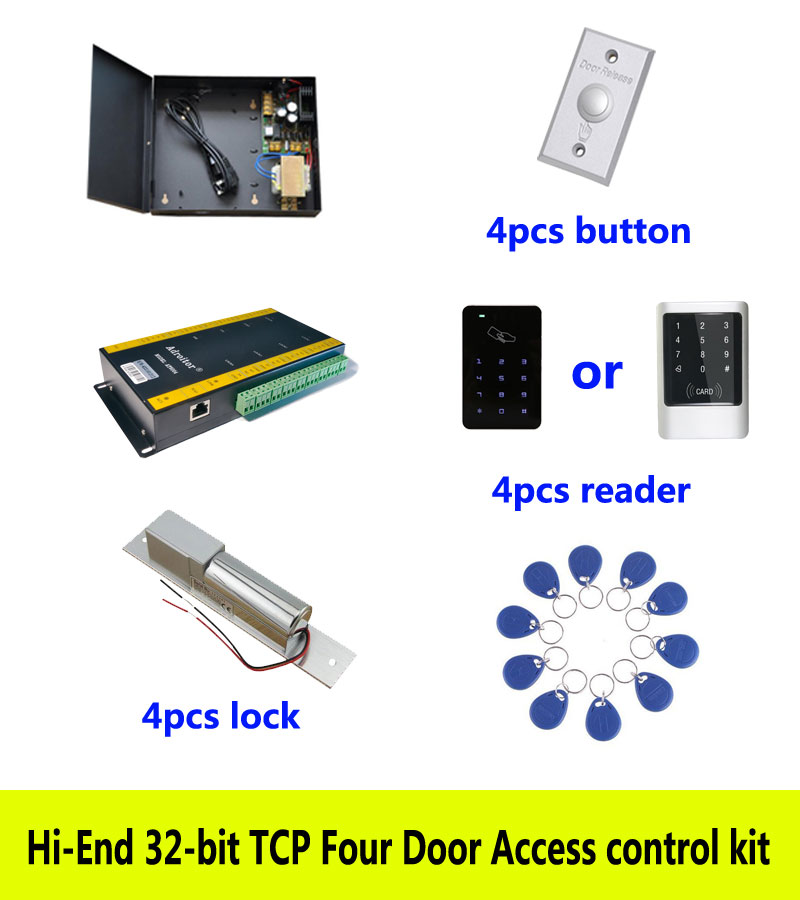 Hi-end 32-bit access control kit,TCP/IP four door +powercase+bolt lock +ID touch keypad reader+button+10 ID tags,sn:kit-AT402 biometric fingerprint access controller tcp ip fingerprint door access control reader