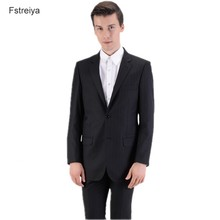 Custom made Worsted  wool men slim fit suit with pants customized mens clothing wedding suits for jacket 2019 groom clothes