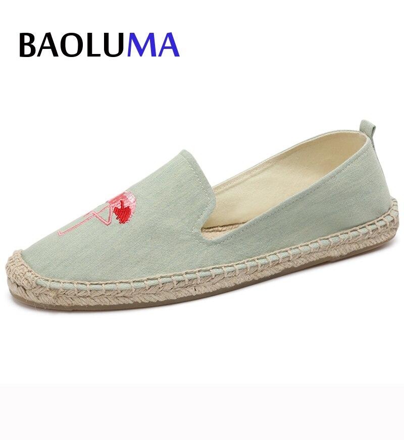 Baoluma 2018 Handmade Flat Shoes Women Retro Art Girl Flats Shoes Flying Crane Eyes Fashion Casual