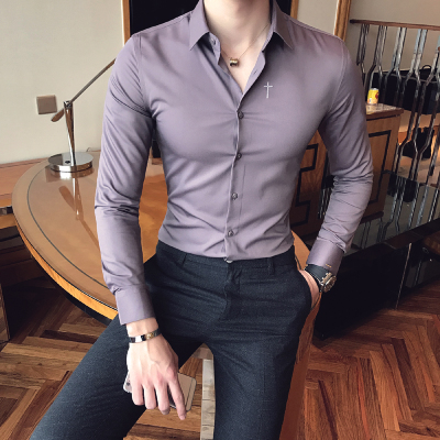 2018 Spring New Long-sleeved Shirt Fashion Trend Korean Slim Men Casual Shirt Youth British Embroidery Youth Shirt
