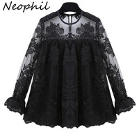 Neophil 2017 Summer White Chiffon Floral Lace Embroidery Long Sleeve Blouses Ruffles Women Ladies Office Blusas