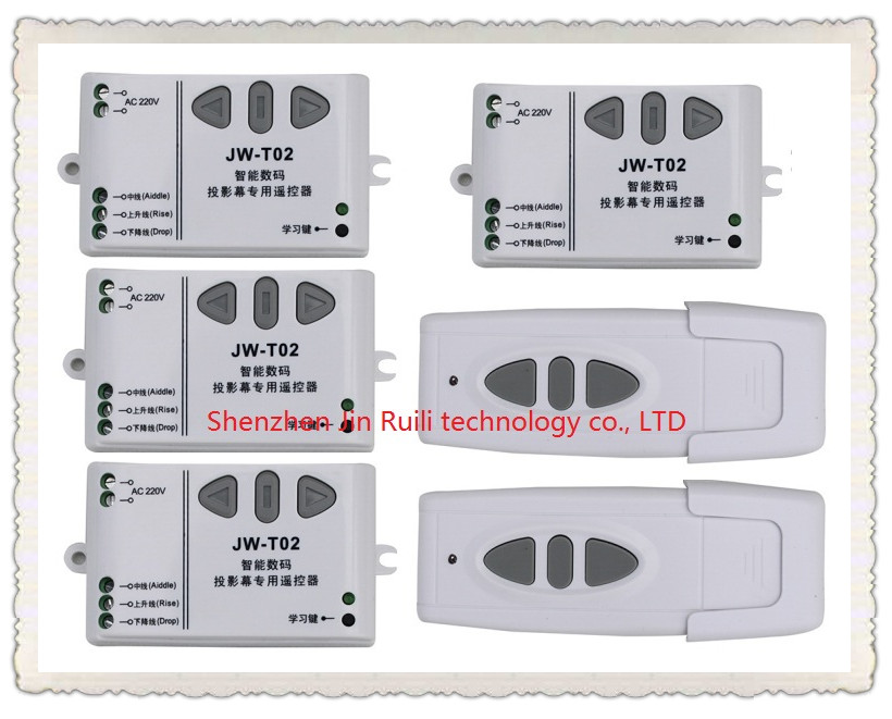 AC110V 220V 240V intelligent digital RF wireless remote control switch system for projection screen 2 transmitter