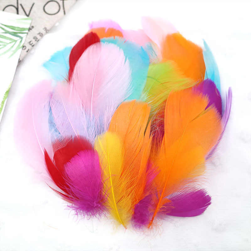 50PCS Colour feathers DIY Handmade material Ornamental Turkey hair Villus Mark Caron feather Children DIY toy materials