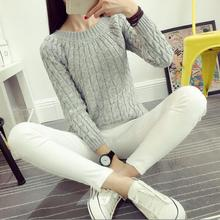 Fashion Twisted Pattern Women Sweaters Casual Round Neck Long Sleeve Pullovers Loose Solid Color Knitted Pull  2016 Autumn