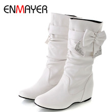 ENMAYER New Women Spring and Autumn Bowtie Charms Flats Boots Shoes Woman Mid-calf 4 Colors White Large Size 34-47