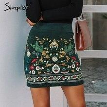 Simplee Vintage גבוהה מותן חצאיות נשים תחתון Boho עיפרון קורדרוי חורף חצאית נשי רקמת סתיו סקסי ירוק מיני חצאית
