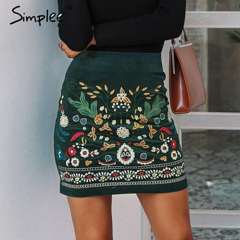 Simplee Vintage cintura alta cintura Faldas Mujer Fondo Boho lápiz de pana de invierno Falda Mujer bordado otoño verde sexy mini falda