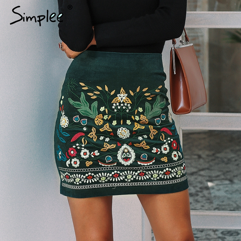 Simplee Vintage high waist skirts womens bottom Boho pencil corduroy winter skirt female Embroidery autumn sexy green mini skirt
