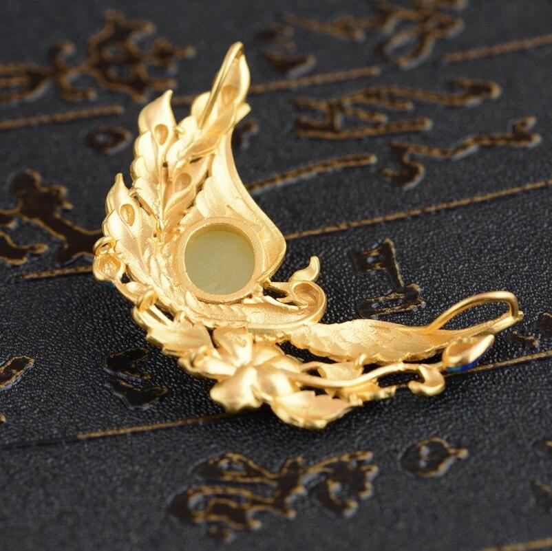 Cerf roi bijoux pendentif cire d'abeille S925 argent Phoenix porter pivoine antique Shaolan femme nouvelle technologie - 3