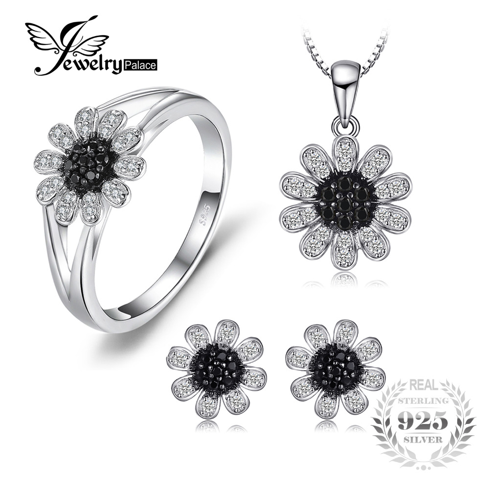 JewelryPalace Fashion Flower Genuine Black Spinel Ring Stud Earrings Pendant Necklace 45cm 925 Sterling Silver Fine Jewelry Sets jewelrypalace 2 55ct natural lemon quartz halo ring stud earrings pendant neckalce chain 45cm 925 sterling silver jewelry sets