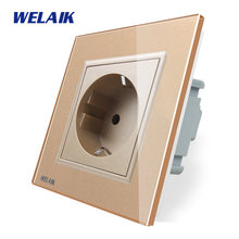 WELAIK EU Muur-Socket Europese Standaard Power-socket Muur-Outlet Gold-Crystal-Glas- panel AC110 ~ 250V 16A A18EG(China)