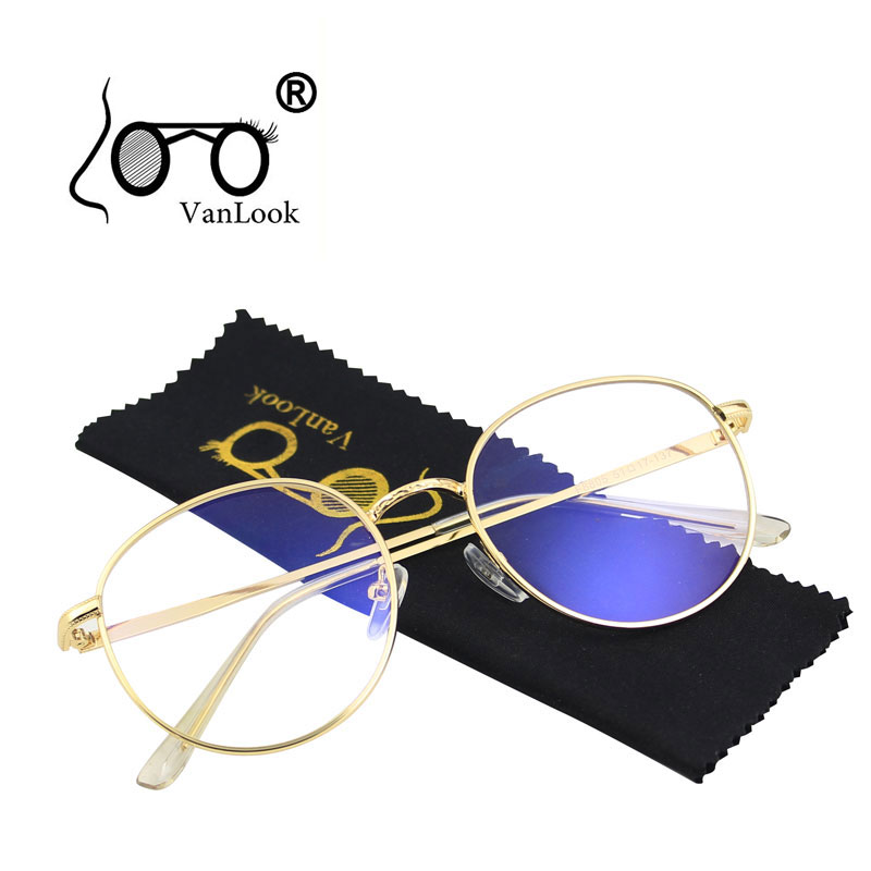 Round Computer Glasses Transparent For Women Men Blue