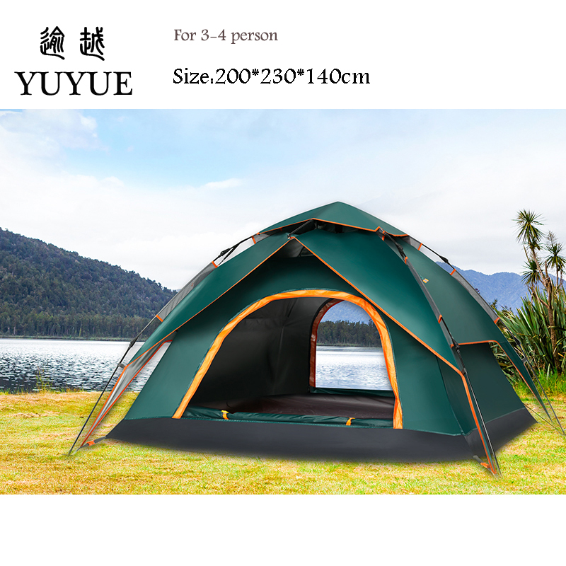3-4 Person Automatic Pop Up Tent Double Layers Waterproof Camping Tent Outdoors Camping Equipment Fishing Tents Outdoor 5