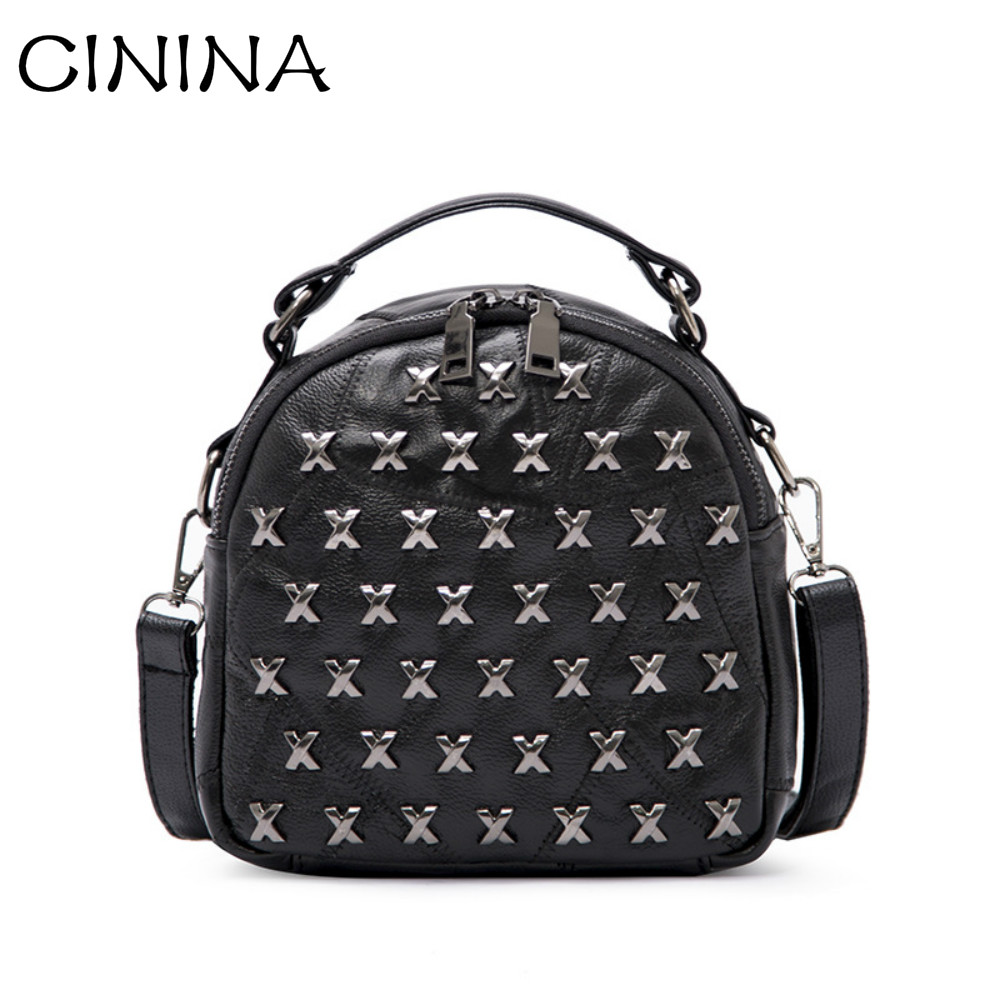 2017 New Fashion Cowhide Backpack Rivet Girls Japanese style Bag Brand Leather Travel bag Simple Style