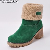 High Heel Ankle Boots Women Autumn Winter Lady Shoes A231 Woman Black Green Light Tan Orange Round Toe Square Heels Riding Boots