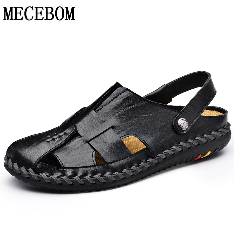 Summer Shoes Men Leather Shoes quality comfortable sandals for male black brown slip-on men slippper size 38-44 8702m