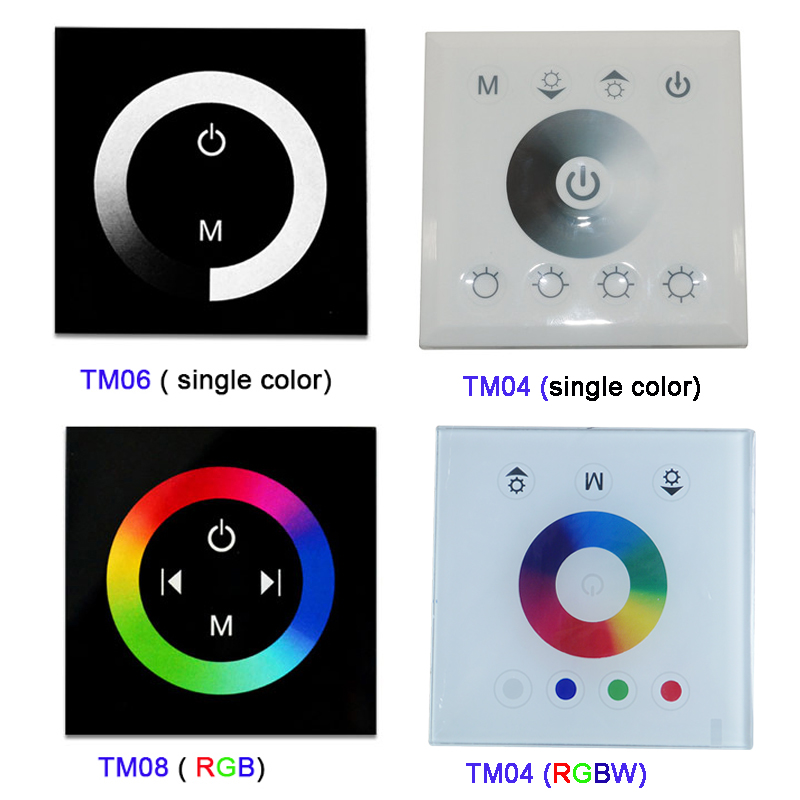 DC12V-24V Single Color/RGB/RGBW Wall Mounted Touch Panel Controller Glass Panel Dimmer Switch Controller For LED RGB Strips Lamp
