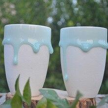 Fließende Glasur Handwerk Becher Keramik Tee Tassen Nespresso Espresso kaffeetassen Zakka milch tasse