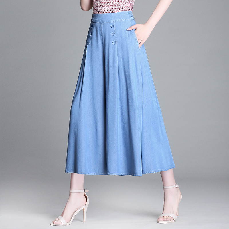 Spring Summer Woman Plus Size Tencel Solid Wide Leg Pants Loose High Elastic Waist Denim Skirts Pants Elegant Office Lady Pants