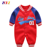 ZOFZ Newborn Baby Clothes For Boys 2017 Long Sleeve Jumpsuit Cute Baby Rompers Cotton Comfortable Clothing