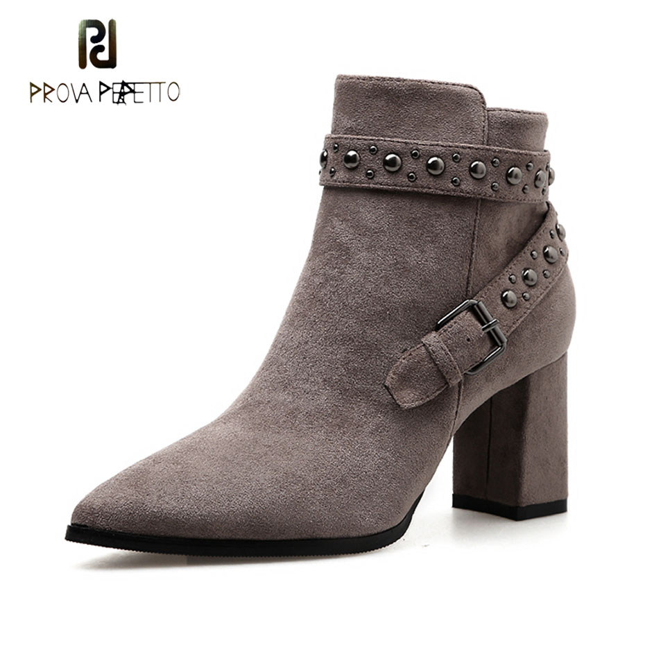 Prova Perfetto british style women short boots pointed toe high heel martin boots rivet stud belt buckle decor chic boots female prova perfetto 2018 newest genuine leather short boots women rivet belt strap platform flats knigh boots punk style boots female