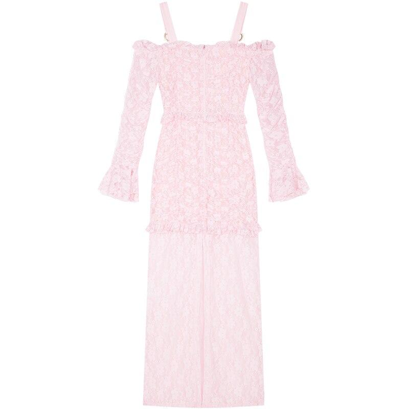 ¡Novedad de 2019! vestido largo YIGELILA de encaje rosa para mujer, vestido liso de vaina imperial con mangas acampanadas y cuello oblicuo 62990 - 5