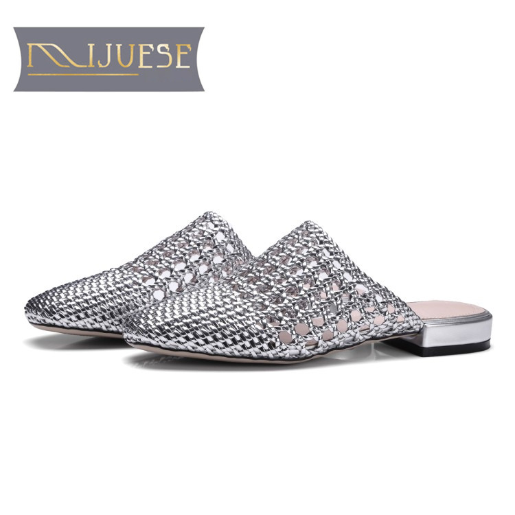 MLJUESE 2018 women slippers cow leather Gladiator cutouts slip on outside sandals summer sandals women size