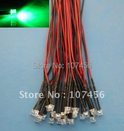 Free Shipping 100pcs Flat Top Green LED Lamp Light Set Pre-Wired 5mm 12V DC Wired