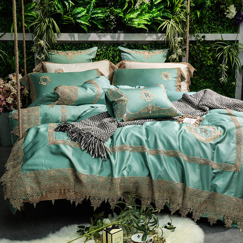 Green White Luxury 80S Egyptian Cotton Royal Gold Lace Embroidery Bedding Set Duvet Cover Bed Linen Bed Sheet Pillowcases 4/7pcs