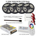 5050 RGB led strip bande tape tiras 20m 15m 10m 5m full kit + 18A RF Remote controller + Power adapter + Amplifier by DHL 5 set