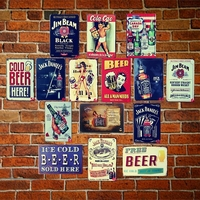 TIN SIGNS Random delivery 10PCS bundled sale Retro Poster Vintage iron metal painting for Home Bar Cafe Pub wall Decor 20x30 cm