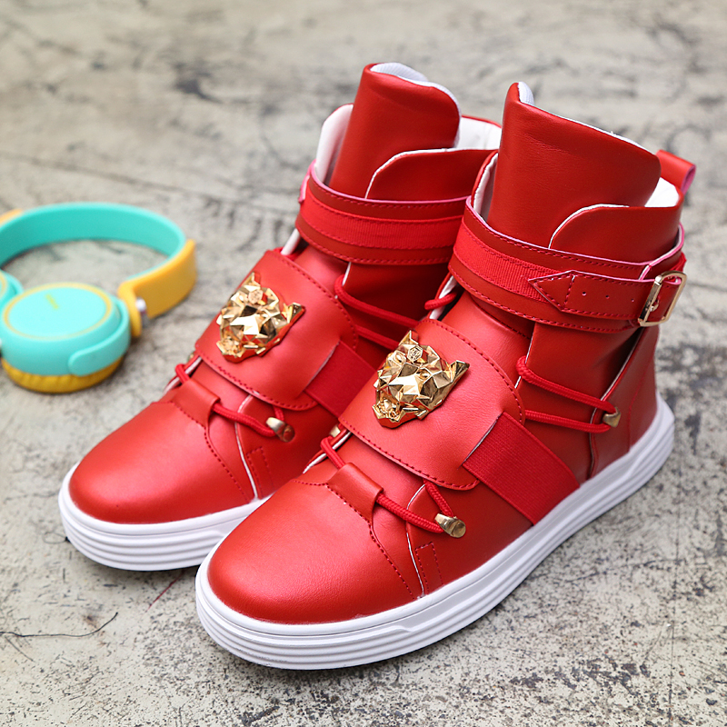 2019 Cool Men High Top Fashion Sneakers Buckle Platform Flats Boots Shoes Man Harajuku Red krasovki Vulcanized Outdoor Shoes