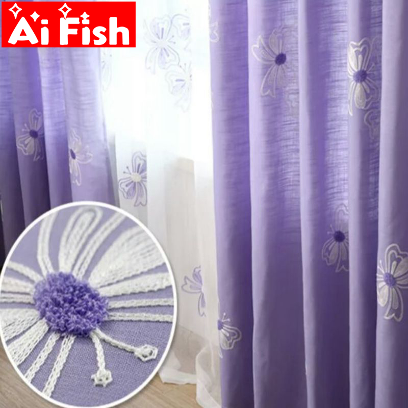 US $9.0 40% OFF|Pastoral Luxury Bedroom Curtain Fabrics Purple Butterfly  Shade Curtains For Living Room White Embroidered Voile Drapes MY004 40-in  ...