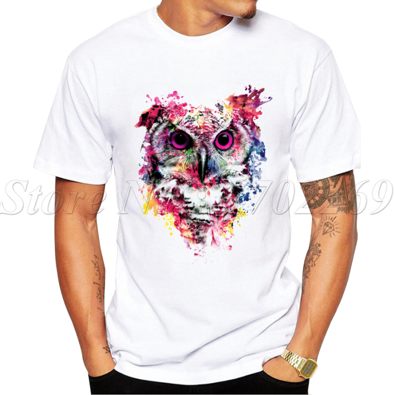 2016 hot sales new fashion painting owl design men t shirt for What t shirts are in fashion