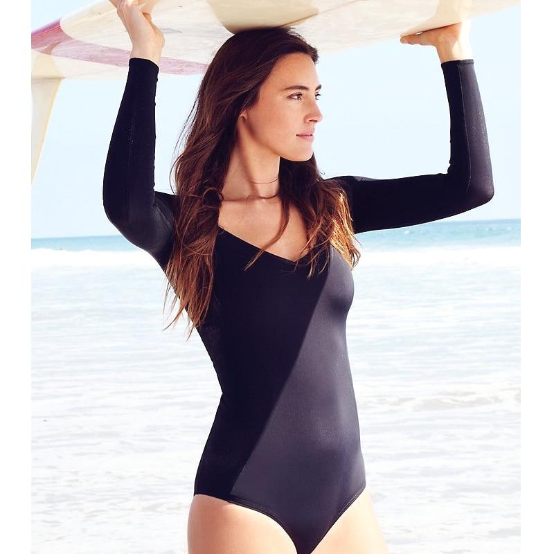 fe79819f8c One Piece Bathing Suits For Women Black Swimwear Women Long Sleeve Sexy One  Piece Swimsuit New Style Monokini Swimsuit