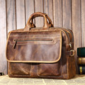 NEWEEKEND Retro Genuine Leather Crazy Horse 14 Inch Cowhide Crossbody Briefcases Handbag Shoulder laptop Bag for Man 2951