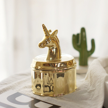 Ceramic Golden Unicorn jewelry box storage tank decoration Christmas gift to send his girlfriend
