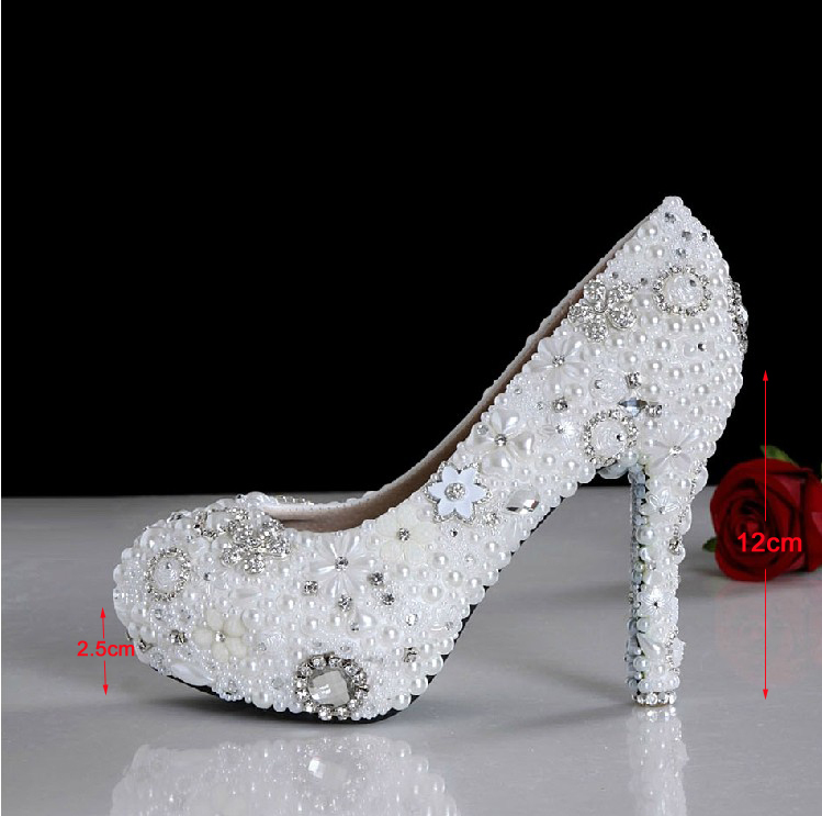 2018 Gorgeous Handmade White High Heel Pearl Rhinestone Shoes Celebration Party Pumps Wedding Dress Shoes Bridal Shoes Shoes pure white pearl wedding dress shoes gorgeous red rhinestone heart shape women pumps 3 inches high heel bride shoes event pumps