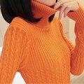 Мода Весна И Осень Женщины Свитер Твердых Пуловер Трикотажные Стандартный Длинным Рукавом Женщины Свитера И Пуловеры