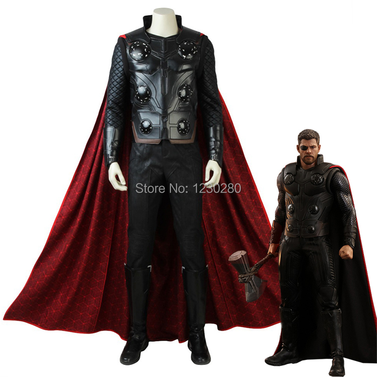 Avengers Infinity War Thor Cosplay Costume Movie Superhero Outfit The Avengers 3 Clothes Halloween Boots Red Cloak Adult Men