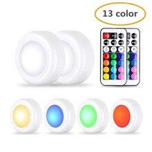 цена на 13 color LED cabinet lights RGB color change hockey lights with remote control, touch sensor LED night light under cabinet light