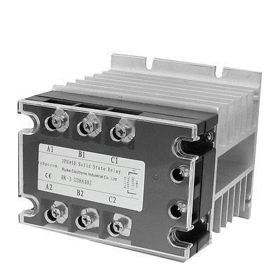 DC-AC 40A 5-32VDC/ 380VAC 3 Phase SSR Solid State Relay w Heat Sink Vducx normally open single phase solid state relay ssr mgr 1 d48120 120a control dc ac 24 480v