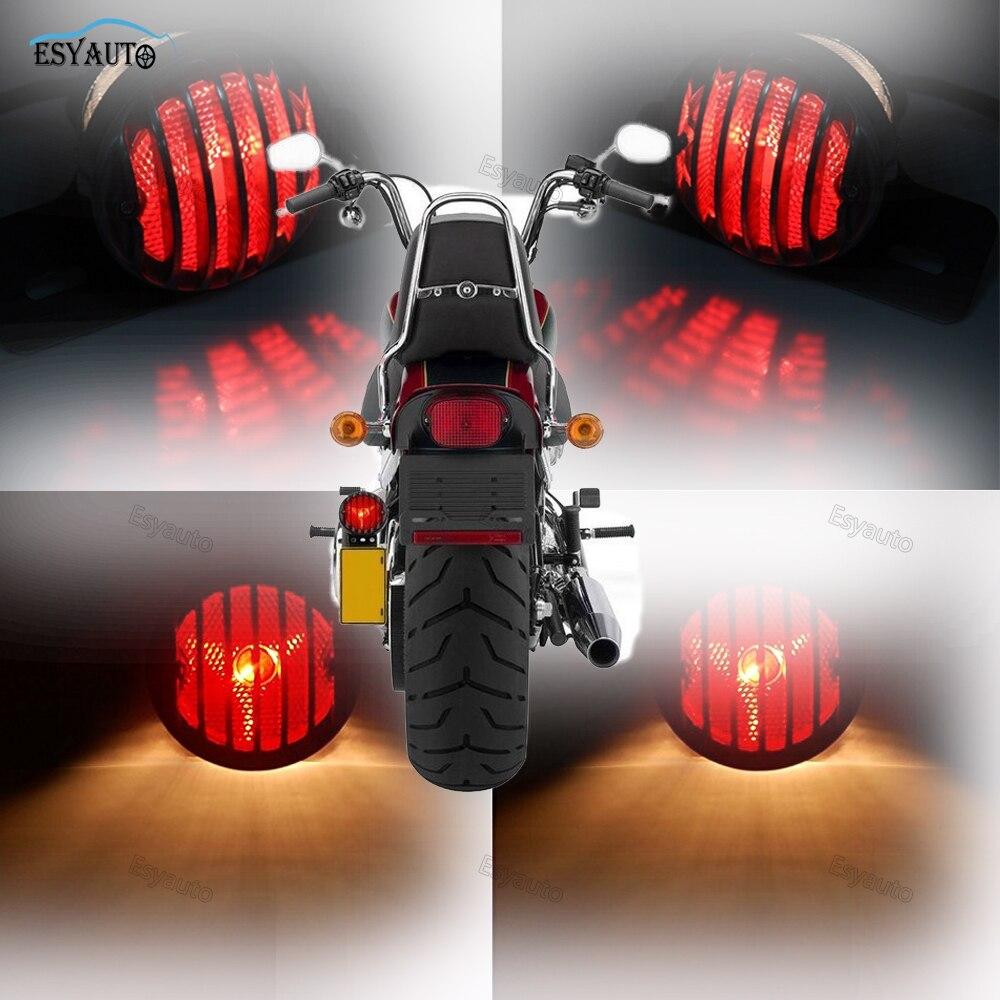 Motorcycle Brake Light License Plate Bracket Side Mount Taillight Taillamp for Harley Sportster Suzuki Yamaha Bobber Chopper