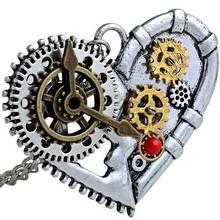 Урожай Серебряное Сердце Ожерелье Уникальный Steampunk Передач Мужская Подвеска Лучший Подарок Steampunk Ювелирные Изделия С Подарочной Коробке