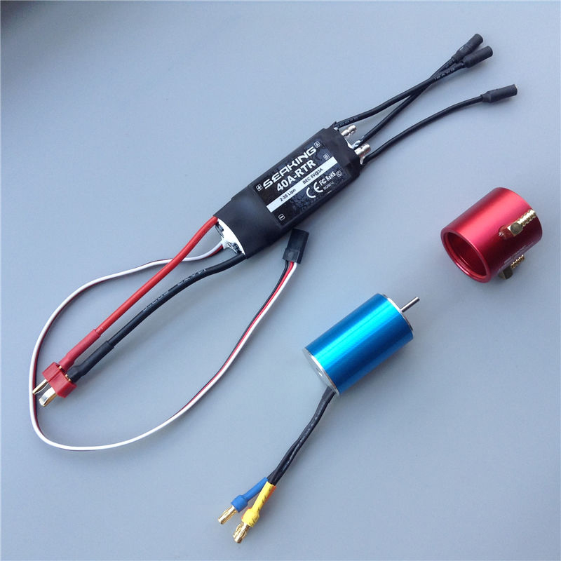 1SET RC Boat Power Kit 2S-3S Water Cooled Two Way 40A Brushless ESC+2440 Motor+Water Sleeve DIY Assembly