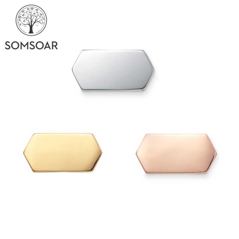 Somsoar OEM Personalized customized rhombus ENGRAVABLE GEO BAR Slide charms Stainless Steel Story Keys fit Mesh