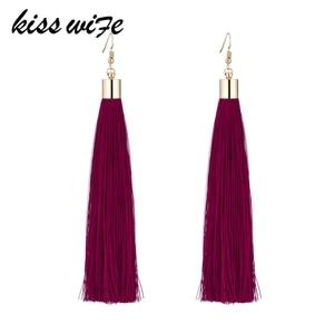 KISSWIFE Set 17 Color Retro Tassel Earrings ladies Jewelry Earrings Ancient Long Tassel Earrings Pendant Gift Bohemian Earrings(China)