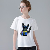 여성 패션 프랑스 불독 디자인 T 셔츠 참신 레이디 나쁜 퍼그 인쇄 짧은 소매 티 W248
