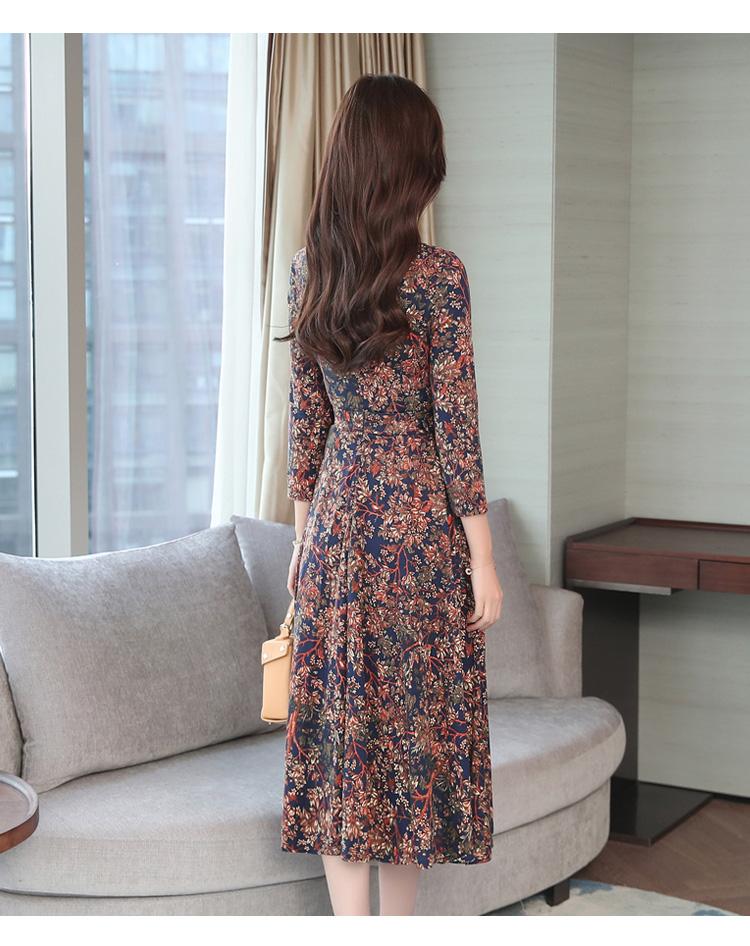 Autumn Winter New 3XL Plus Size Vintage Midi Dresses 2018 Women Elegant Bodycon Floral Dress Party Long Sleeve Runway Vestidos 43