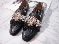 Creative Slip on Luxury New England Square Toe Flat Genuine Leather Sequin Decor Shallow Handmade Custom Crystal Shoes